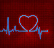 Heart cardiogram with heart on it Stock Image