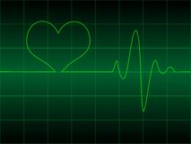 Heart cardiogram with heart on it Royalty Free Stock Images