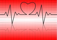 Heart cardiogram with heart on it Stock Photos