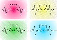 Heart cardiogram with heart on it Royalty Free Stock Photo