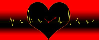 Heart cardiogram illustration. Illustration with heart cardiogram  and clock hands