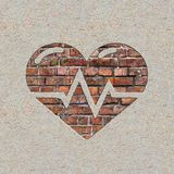 Heart with Cardiogram Line on the Wall. Royalty Free Stock Photography