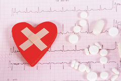 Heart cardiogram and medical pills. On white background stock photo