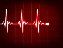 Heart cardiogram with shadow on it deep red. EPS 8 Royalty Free Stock Photos