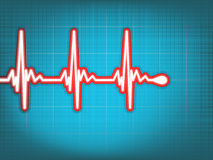 Heart cardiogram with shadow on light blue. Stock Image