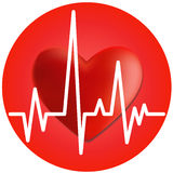 Heart and cardiogram. Volumetric red heart and cardiogram in the circle Stock Photo