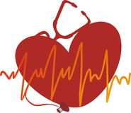 The heart cardiogramme. The yellow cardiogramme against red heart Stock Photo