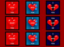 Heart cards. Nine different cards showing feelings royalty free illustration