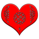 Heart  for Cards. A red heart detailed with white glowing elements Royalty Free Stock Photos