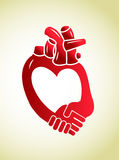 Heart care help. Isolated illustration of heart care help concept Stock Images