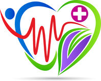 Heart care logo. A vector drawing represents heart care logo design stock illustration