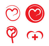 Heart care medical logos Stock Photos