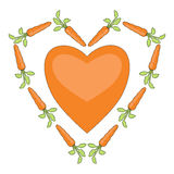 Heart with carrots Royalty Free Stock Image