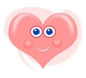 Heart cartoon. Cute smiling heart cartoon in soft pink Stock Photo