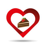 heart cartoon cake sliced chocolate and strawberry icon design Royalty Free Stock Image