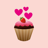 heart cartoon cupcake chocolate pink cream and strawberry sweet icon design Royalty Free Stock Photography