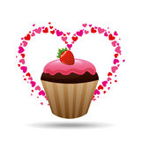 heart cartoon cupcake chocolate pink cream and strawberry sweet icon design Stock Images