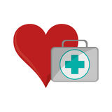 Heart cartoon and first aid kit  icon. Flat design heart cartoon and first aid kit  icon vector illustration Stock Photos