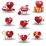 Heart cartoon heroes valentine. There are nine hearts cartoon characters Royalty Free Stock Photo