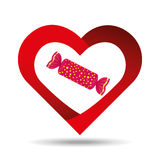 Heart cartoon red candy sweet icon design Royalty Free Stock Photos