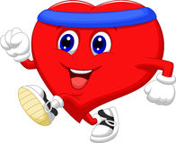 Heart cartoon running to keep healthy Stock Photos