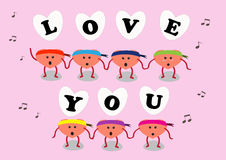 Heart cartoon sing love you Stock Photography