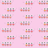 Heart cartoon sing love you pattern background Stock Photo