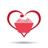 Heart cartoon sweet cup cake pink chips and cherry icon design Stock Photo