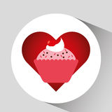 Heart cartoon sweet cup cake pink chips and cherry icon design Royalty Free Stock Images