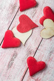 Heart carved from wood and made of felt Royalty Free Stock Photo