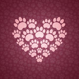 Heart of The Cat Traces. vector illustration