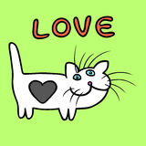 Heart Cat on Valentine`s Day Vector Illustration Royalty Free Stock Image