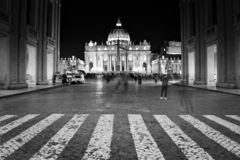 St. Peter`s Basilica in Vatican city at night stock photo