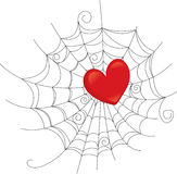 Heart caught web Stock Image