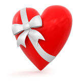 Heart with Celebration Bow (clipping path included) Royalty Free Stock Images