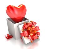 Heart in a celebratory box on Stock Photography