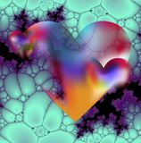 Heart and cellular structure. Colorful and transparent hearts on a blue-violet cellular structure vector illustration