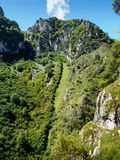 Desfiladero de las Xanas. In the heart of the center of Asturias is this magnificent gorge, little brother of the Garganta del Cares, but for many walkers much Royalty Free Stock Image