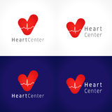 Heart centre logo. Vector design, the logotype of cardiology clinic. Icons idea of healthcare, hospitals, tests, clinics, pharmacies. Healthy hearts cardiowaves Royalty Free Stock Photo
