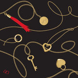 Heart & Chain. Vector file of heart jewellery & golden chain Royalty Free Stock Image