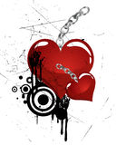 Heart with chain. Illustration of red hearts on an abstract background Stock Photo