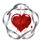 Heart and chain. Illustration of a silver chain and a broken red heart Stock Images