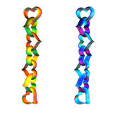 Heart chain. 3D green red and cyan violet chains of hearts, isolated on white background Royalty Free Stock Photo