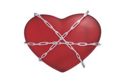 Heart with a chain 3d illustration. Heart bounded with a chain 3d render stock illustration