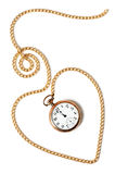 Heart chain with old pocket watch. Heart path made with a gold chain and a pocket watch inside showing a few minutes to midnight,  on white background. Concept Stock Image