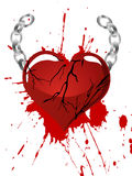 Heart with chains. Illustration of silver chains on a red broken heart Stock Photo