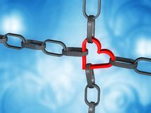 Heart in chains. Prisoned - chained red heart with blue background Stock Photo