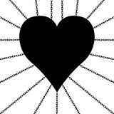 Heart in chains. A heart is chained up. It is a black and white vector Stock Photography