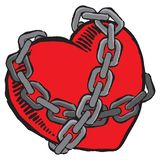 Heart in chains. An illustration of a red heart bound by chains. Vector file stock illustration