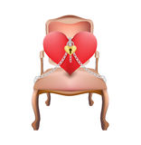Heart on chair and key lock with chain valentine concept Stock Images